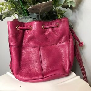 Cole Haan Mini Pebbled Leather Bucket Bag Hot Pink